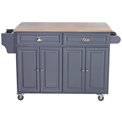 Buy Homcom Rolling Kitchen Island On Wheels Ultility Cart With Drop Leaf And Rubber Wood Countertop Storage Drawer Door Cabinet Grey Online In Turkey B07xgj688f