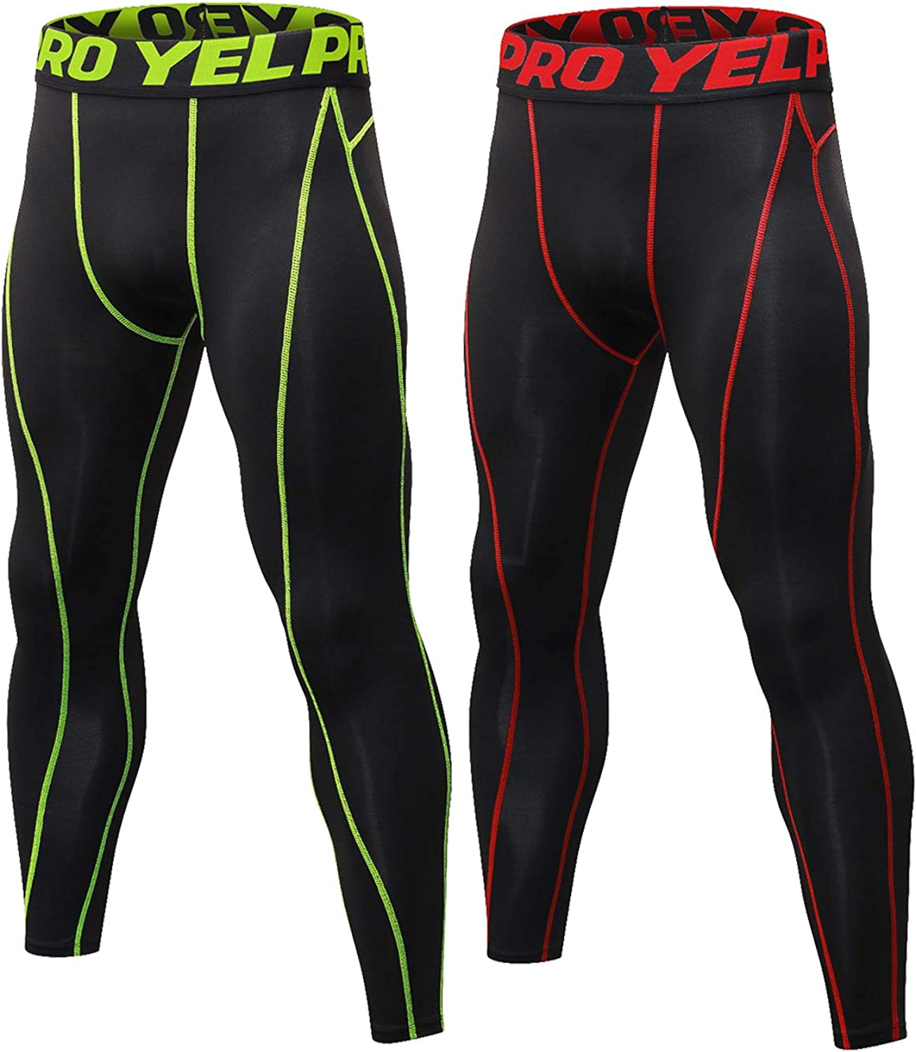 LNJLVI Mens 2 Pack Compression Pants Running Leggings Baselayer Cool Dry Sports Tights