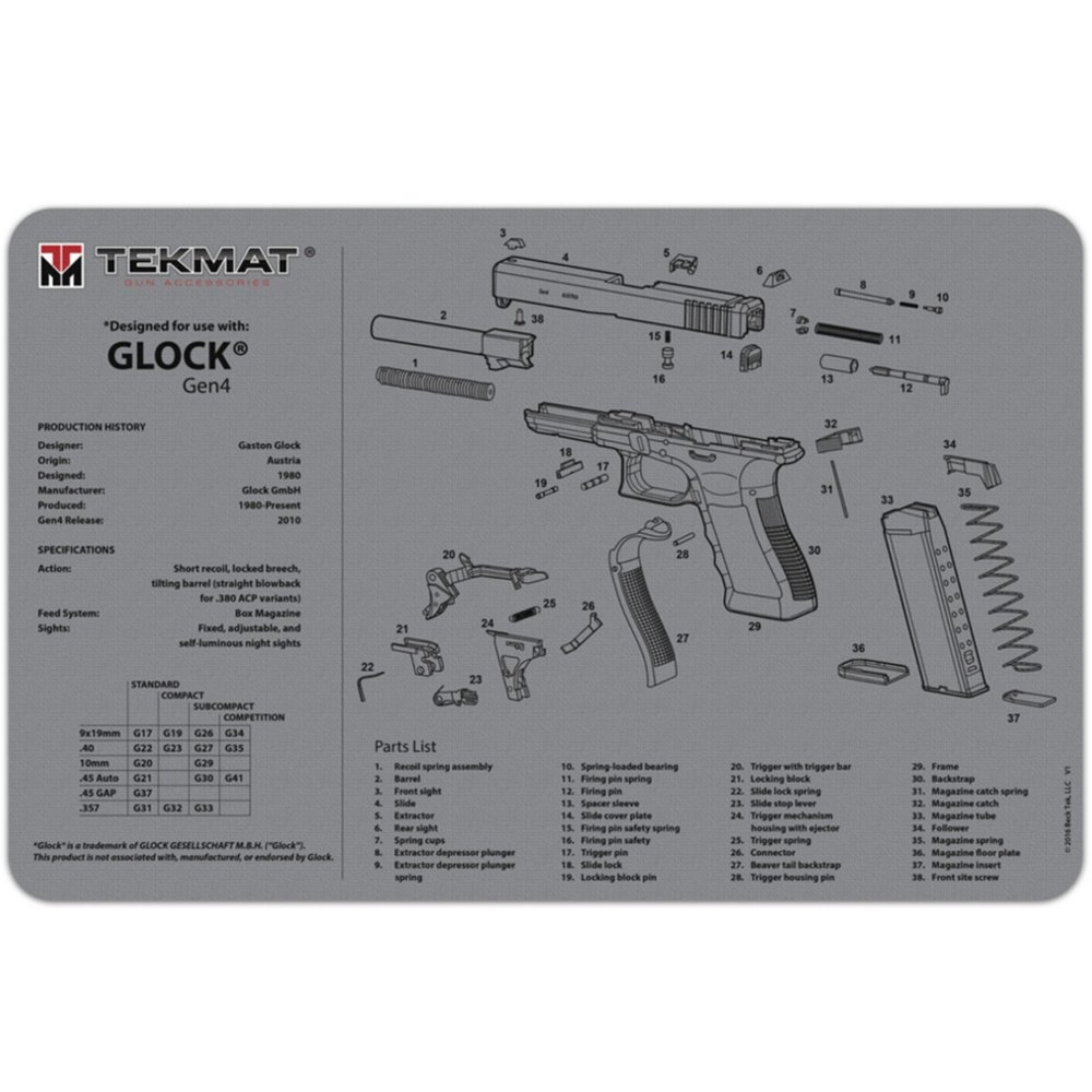 TekMat Glock Gen4 Cleaning Mat / 11 x 17 Thick, Durable, Waterproof/Handgun  Cleaning Mat with Parts Diagram and Instructions/Armorers Bench Mat/Grey