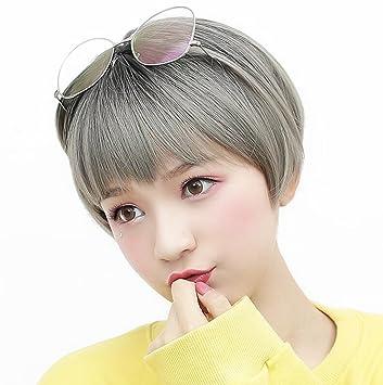 Longless Peluca Secador de pelo corto flequillo pelo corto peluca mullidas realismo natural: Amazon.es: Juguetes y juegos