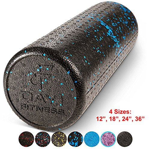 High Density Muscle Foam Rollers by Day 1 Fitness - Sports Massage Rollers for Stretching, Physical Therapy, Deep Tissue and Myofascial Release - For Exercise and Pain Relief - Speckled Blue, 18
