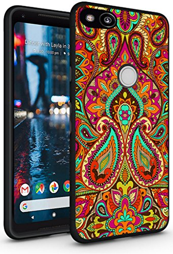 Case for Pixel 2 XL - Topgraph [Soft TPU Slim Fit Black with Design] Compatible Cover for Google Pixel 2 XL Protective Cover Colorful Flower Floral Texture Art
