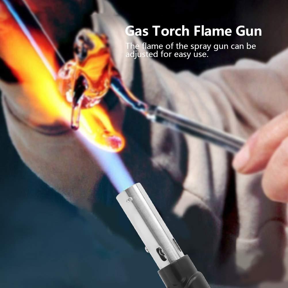 Pistola de Llama Soplete de Gas Pistola de Llama Ajustable Pistola de Soldadura de Encendido Electr/ónico para Exteriores Cocina Cocina Barbacoa Hornear 1300 ℃