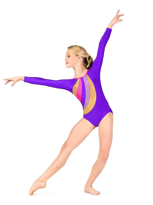 b6d7ed68bf12 Amazon.com  Girls Gymnastics Spliced Print Long Sleeve Leotard G677C ...