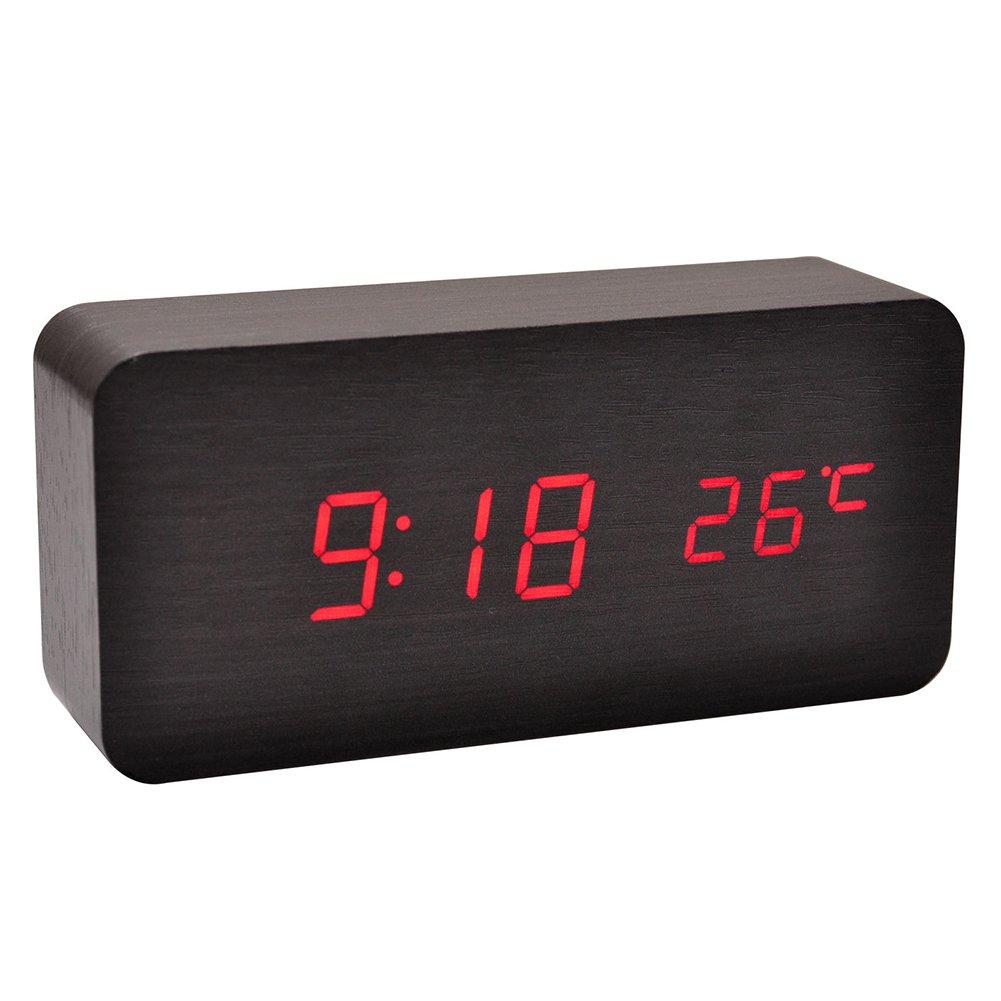 df506502ad9c Amazon.com  potato001 Modern Wooden Wood USB AAA Digital LED Desk Alarm  Clock Calendar Thermometer (Wooden Black)  Home Audio   Theater