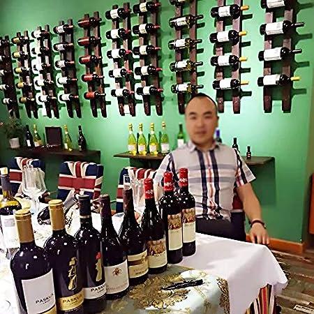 DW007 Botellero para Vino De Pared 5 Botellas Madera Maciza Restaurante Bares Vinoteca Cocina Porta Botellas Montaje En Pared 102 * 20Cm