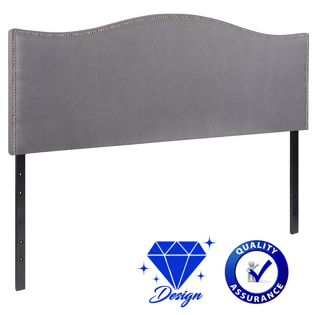 Queen Headboard Tufted Headboard Fabric Upholstered Modern Heavy Duty with Gray Linen Curved Shape Button