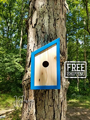 Wooden Birdhouse - Modern Design - Minimalist - Blue Pacific Pleasure with White Cedar - Design Birdhouses