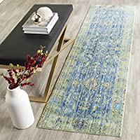 Safavieh Valencia Collection VAL123M Blue and Multi Vintage Distressed Silky Polyester Runner (23 x 6)