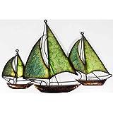 New - Contemporary Metal Wall Art Decor Sculpture - Green Blue Sailing Boats