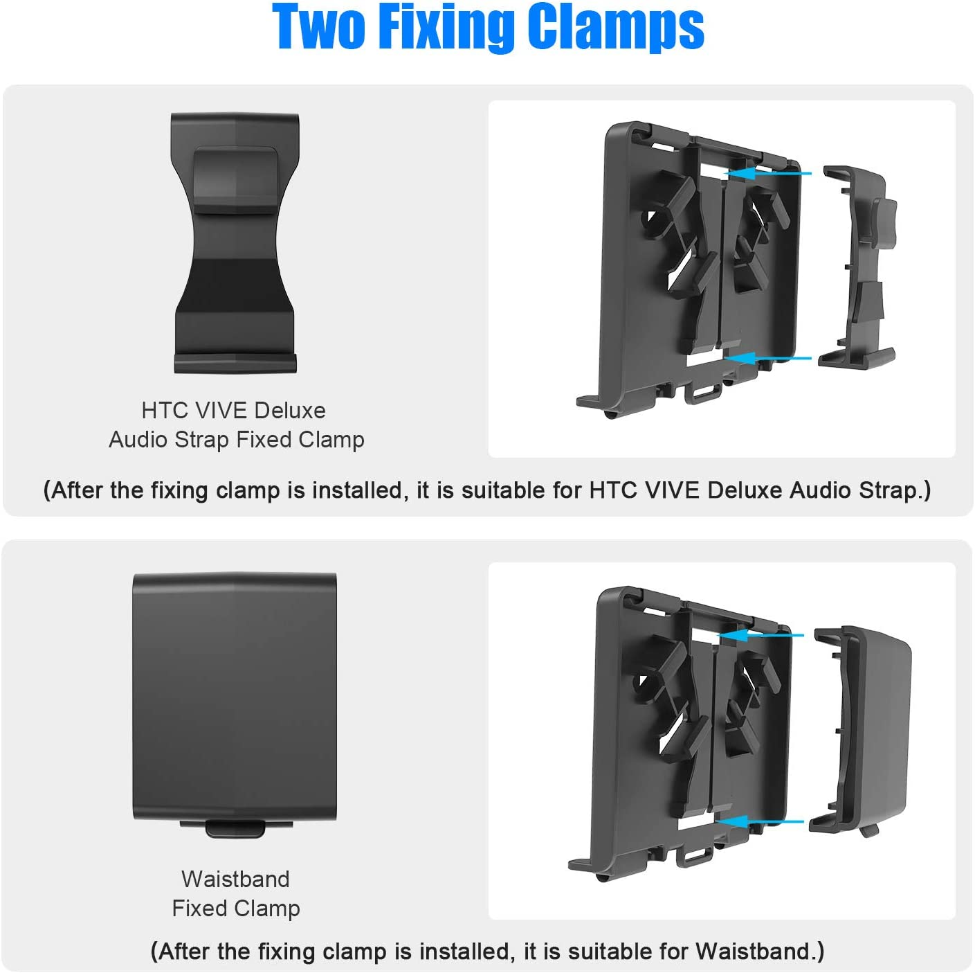 AMVR Powerbank Fixing Bracket with USB Cable Compatibly Multiple Sizes Mobile Power Battery Holder for Oculus Quest or Vive Deluxe Audio Strap Fixed on The VR Headset Strap or on The Waist