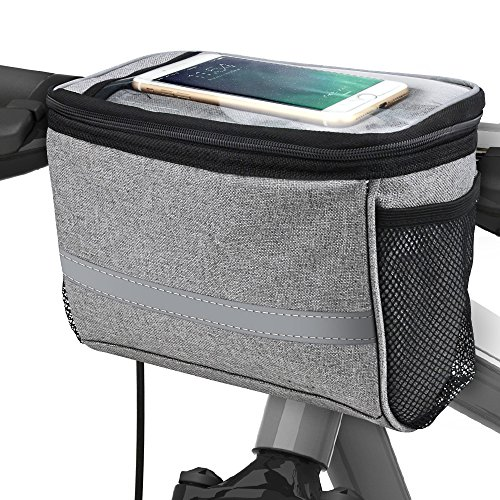 Bicycle BicycleStore Cycling Basket Handlebar Bag with Sliver Grey Reflective Stripe Outdoor Activity Pack Accessories Black 3.5L