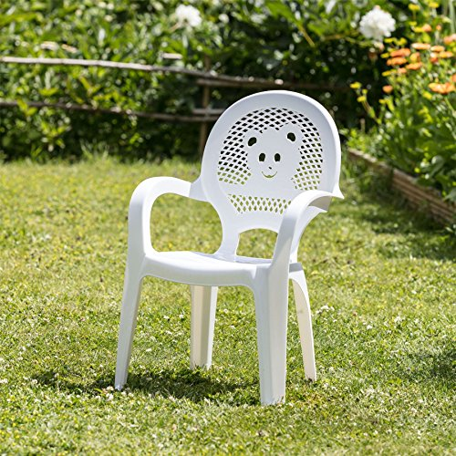 Resol Childrens Kids Garden Outdoor Plastic Chair White