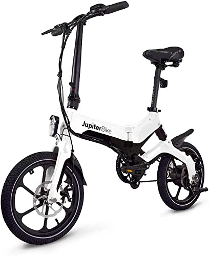 Jupiter Bike Discovery Lightweight Folding Electric Bike with E-Bike Carrying Bag Magnesium-Alloy Frame Lithium-ion Battery 36V 250W Hub Motor Dual Disc Brakes White