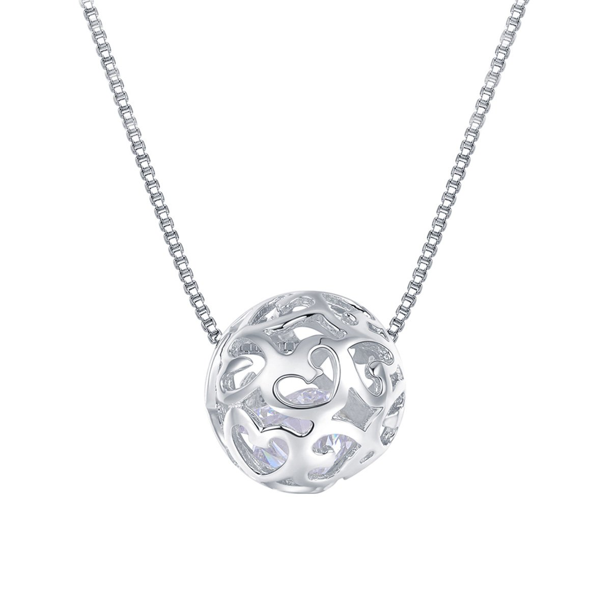 Merdia 925 Sterling Silver Necklaces with Pendant Cut Beads Ball Chain Necklace for Women Charm Jewelry