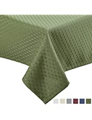 VEEYOO 60 x 84 inch Waffle Jacquard Rectangular Polyester Spillproof Tablecloth for Restaurant Kitchen Dining Party Venue Decor, Sage Green