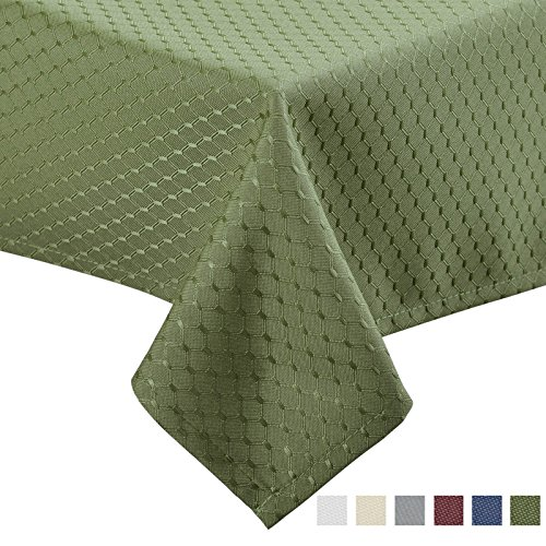 VEEYOO 60 x 102 inch Waffle Jacquard Rectangular Polyester Spillproof Tablecloth for Restaurant Party Venue, Sage Green (Tablecloth Sage Polyester)