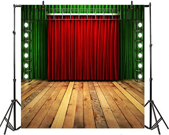 8x8ft Modern Theatre Stage Backdrop Polyester Closed Red Curtain Bright Light Decoration Brick Wall Rustic Wooden Stage Floor Background Live Show TV Programming Banner School Event Activities
