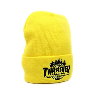 HUF x Thrasher Tour De Stoops Cuff Beanie - Yellow  Amazon.co.uk ... ac4cf022c1b