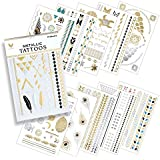 10 Premium Sheets of Metallic Gold, Silver, Turquoise and Multi-color Temporary Flash Tattoos for Women & Girls - Over 120+ Tattoos - Waterproof Trending Top Fashion Accessory