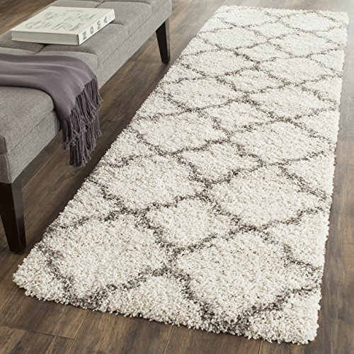 Safavieh Hudson Shag Collection SGH282A Ivory and Grey Moroccan Geometric Quatrefoil Runner (2'3