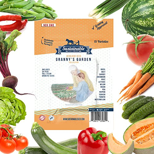 15+ Seeds (Sustainable Seed 15 Variety Non GMO Heirloom Vegetable Garden Seed Collection for Planting. Heirloom Beet, Carrot, Cucumber, Basil, Kale, Lettuce, Melon, Onion, Pea, Pepper, Squash and Tomato Seeds)