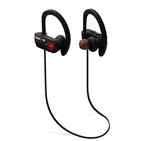 Sardonyx SX-918 Wireless Headphones, Best Bluetooth Earphones Noise Cancelling Sport IPX7 Waterproof HD Stereo Headset w Mic, Secure-Fit Sweatproof Earbuds for Gym Running Workout Exercise