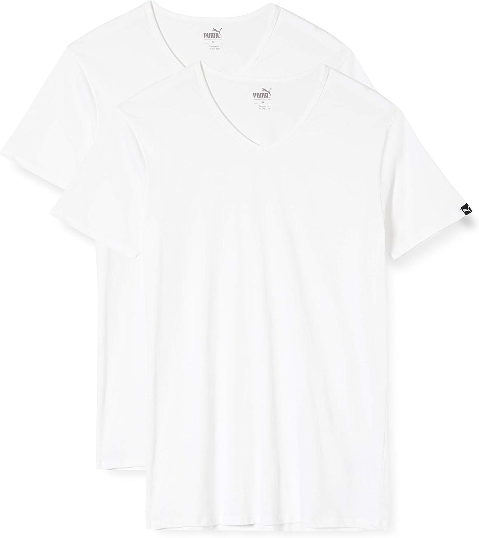 PUMA 8 en Paquete Básico Cuello V Camiseta de los Hombres Camiseta Interior Hombre Cuello Pico