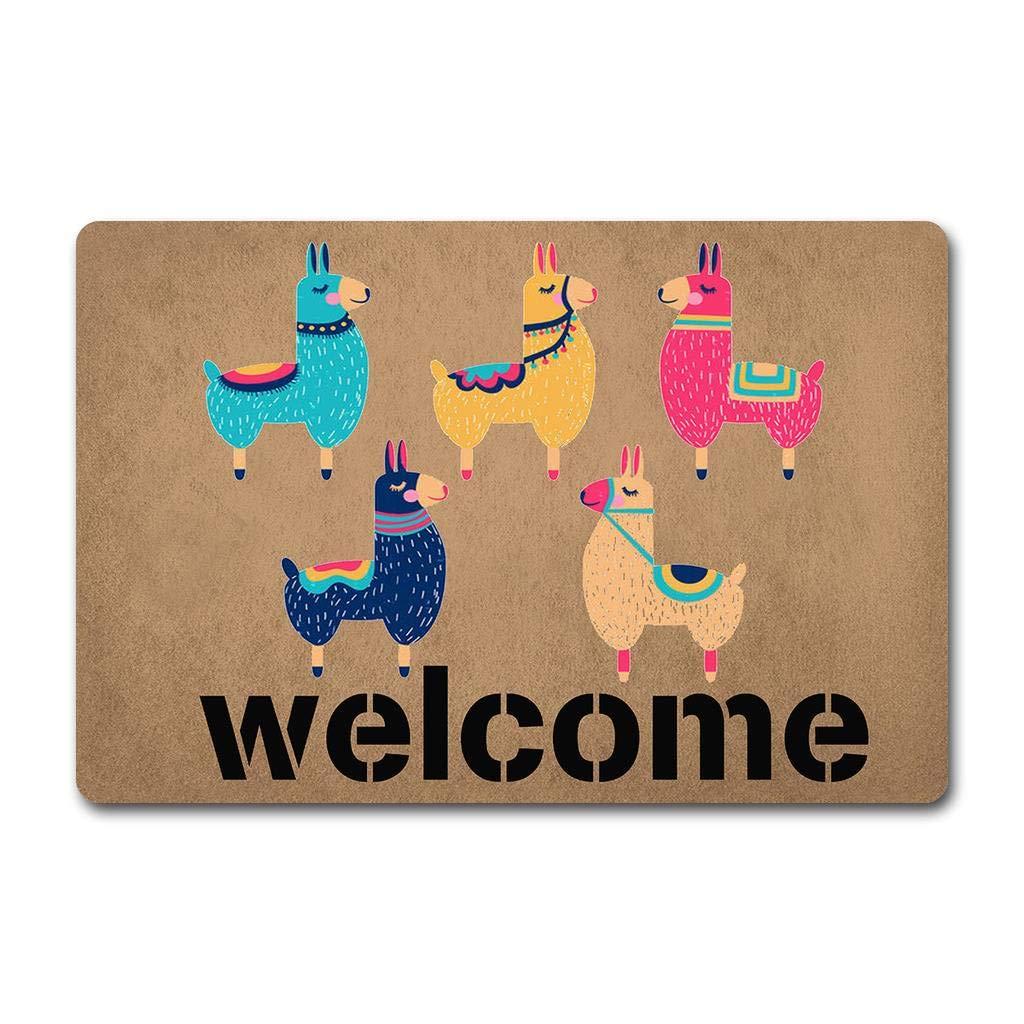 23.6 X 15.7 in Door Rugs Rubber Doormat Non-Woven Fabric Top with a Anti-Slip Rubber Back ZQH Entrance Door Mat Larry The Llama Doormat Welcome Doormat Cute Llama Colorful Llama Door Rugs
