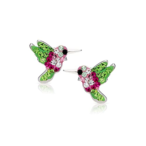 Colorful Miracle of Living Hummingbird Crystal Earrings, Never Rust 925 Sterling Silver Natural Hypoallergenic Studs For Women Girls with Free Breathtaking Gift Box for a Special Moment of Love