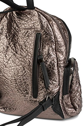 Metallic handbag quilted Metallic ladies 02012199 rucksack styleBREAKER look in color metallic black bag Bronze and zipper n56wIxqBw