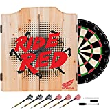 Honda Ride Red Design Deluxe Solid Wood Cabinet Complete Dart Set