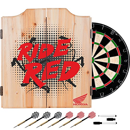 Honda Ride Red Design Deluxe Solid Wood Cabinet Complete Dart Set by TMG