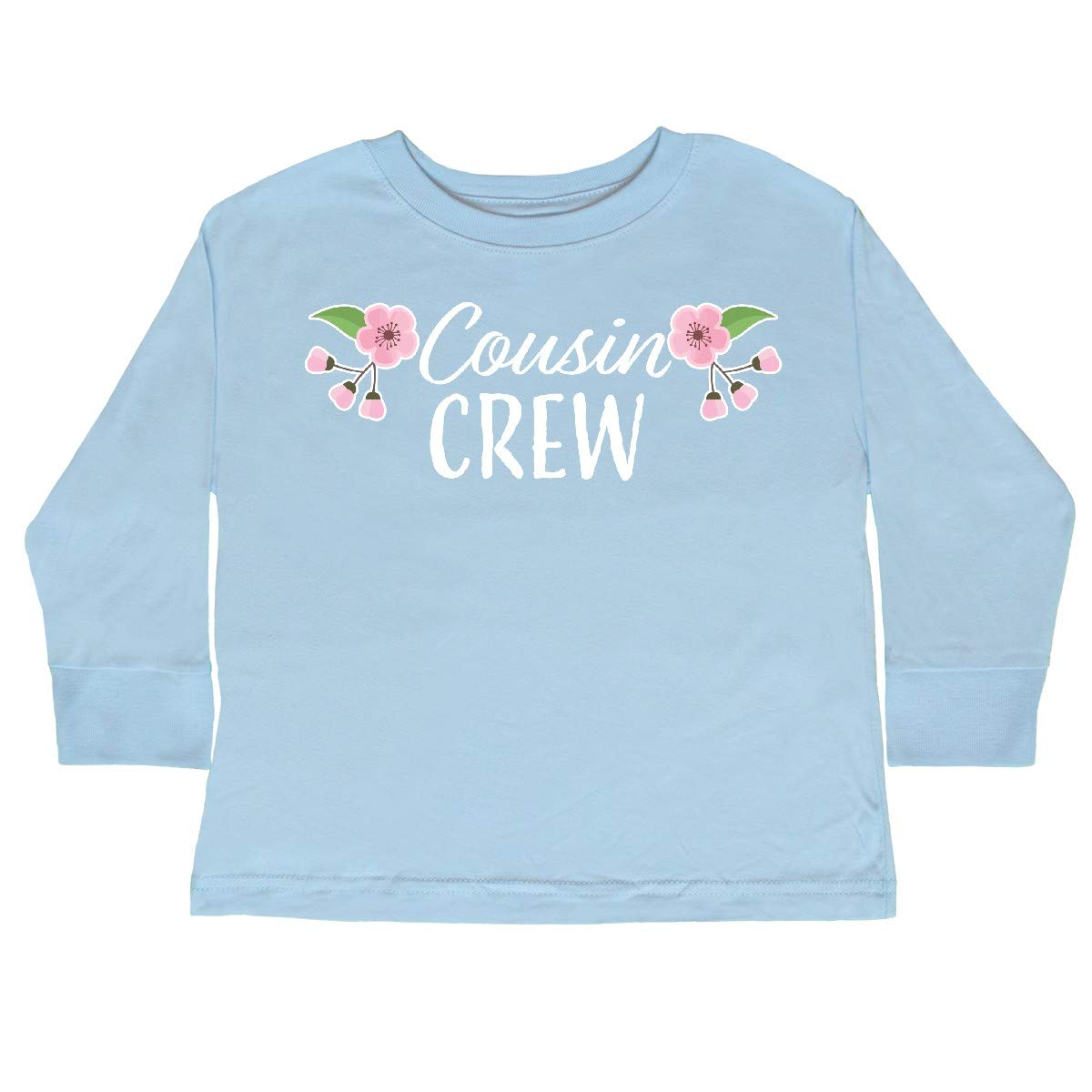 inktastic Cousin Crew with Cherry Blossom Flowers Toddler Long Sleeve T-Shirt