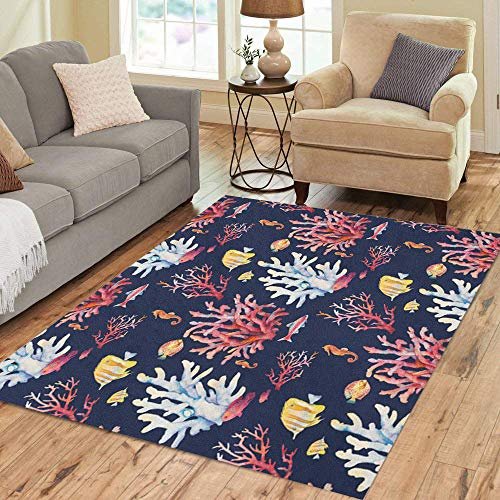 Pinbeam Area Rug Watercolor Coral Reef Realistic Tropical Fishes Sea Horse Home Decor Floor Rug 5' x 7' -