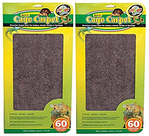 (2 Pack) Zoo Med 26083 Repti Cage Carpet 18'' x 48'' (60 Gallon) by Zoo Med