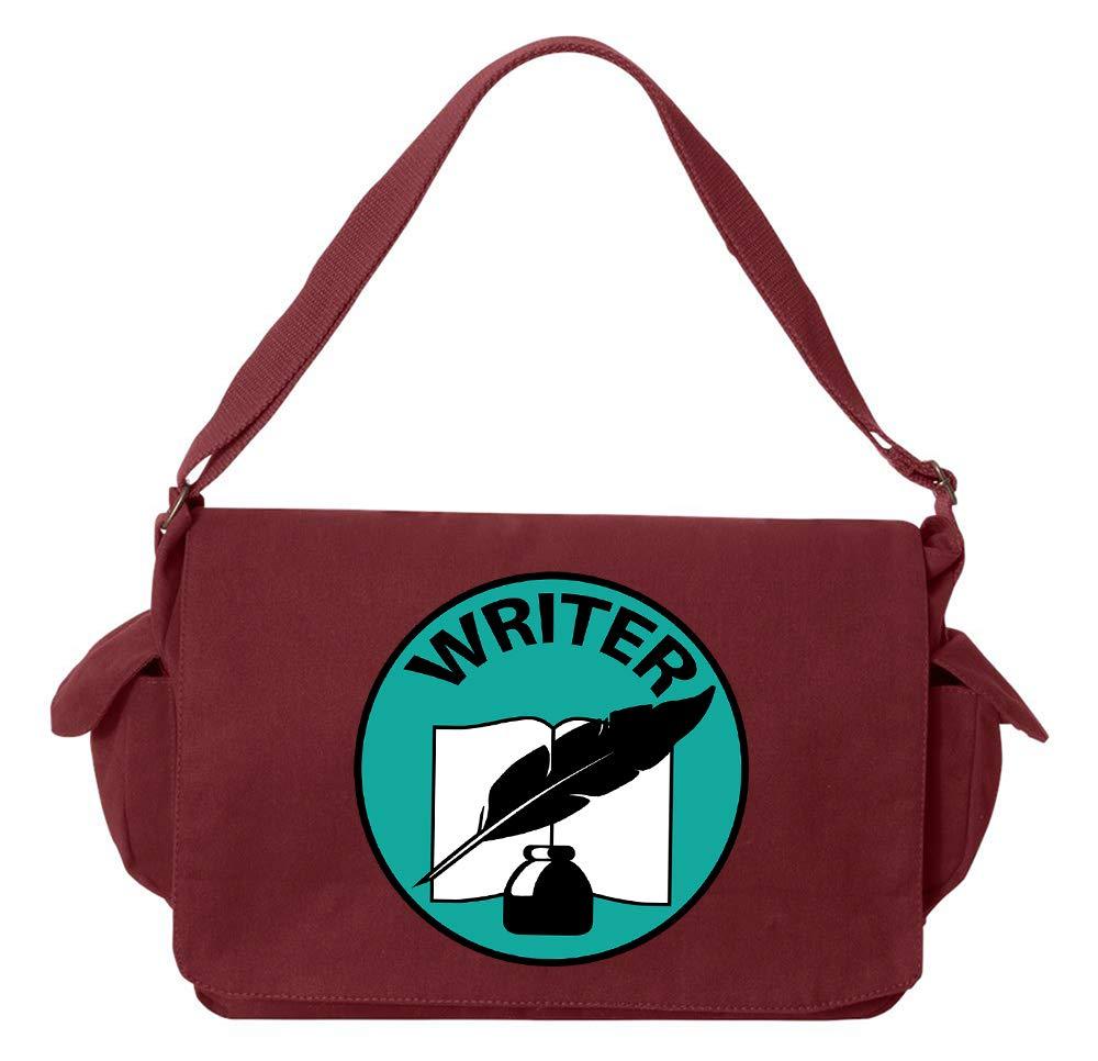 Tenacitee Writer Badge Royal Blue Brushed Canvas Messenger Bag