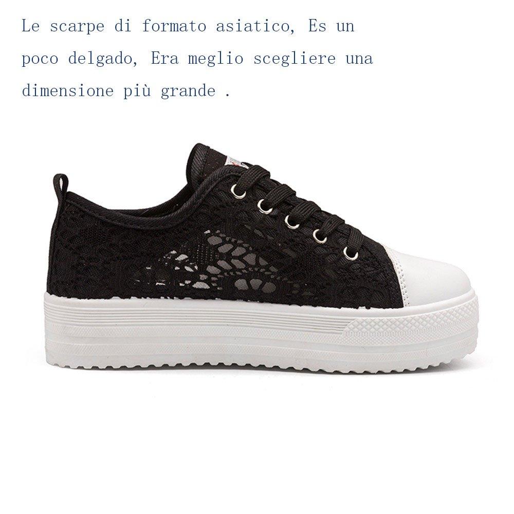10b2b91831 Scarpe Donna Sneakers Basse Estive Sportive Platform Plateau Nero Bianche  35-42