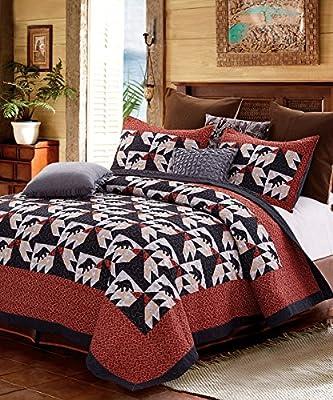 3pc Patchwork Black Bear Lodge Quilt Set