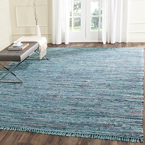 Safavieh Rag Rug Collection RAR121B Hand Woven Blue and Multi Cotton Area Rug (4' x 6')
