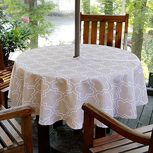 "ColorBird Elegant Moroccan Outdoor Tablecloth Waterproof Spillproof Polyester Fabric Table Cover with Zipper Umbrella Hole for Patio Garden Tabletop Decor (60"" Round, Zippered, Kakhi)"