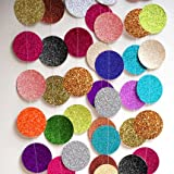 HANGNUO 16.4ft Colorful Dot Paper Garland For Wedding Birthday Anniversary Party Christmas Girls Background Decoration, Glittery Mix Color, Large