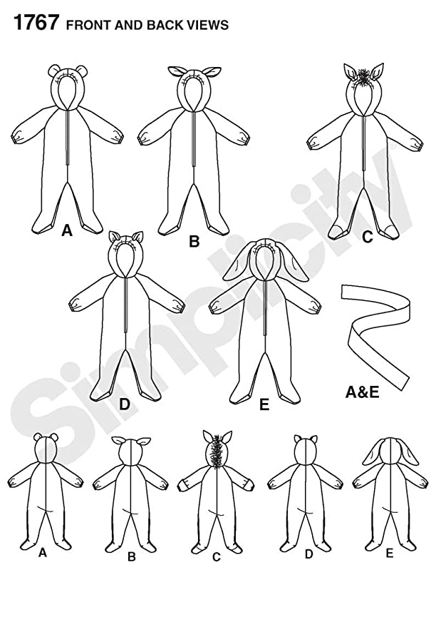 Simplicity 1767.A - Patrones de costura para disfraces de bebé ...