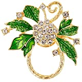 NOUMANDA Women Summer Style Clear Crystal Flower Green Leaves Magnetic Eyeglass Holder Brooch Pin Jewelry (gold)