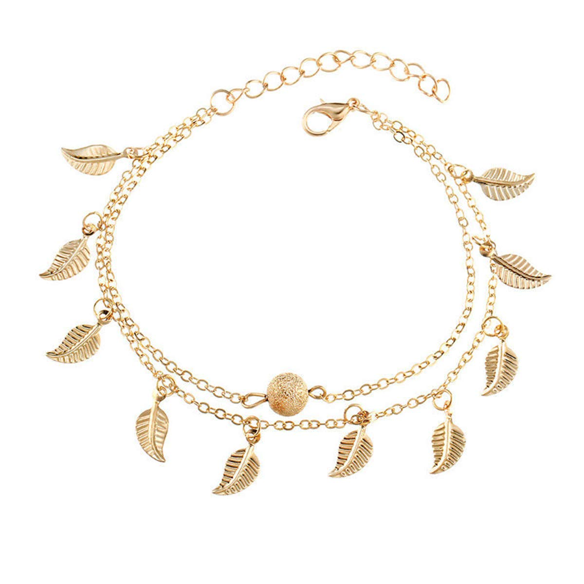 Pretty.auto Women Ladies Girls Vintage Fringed Leaf Lucky Anklets Adjustable Silver Gold Foot Chain (Gold)