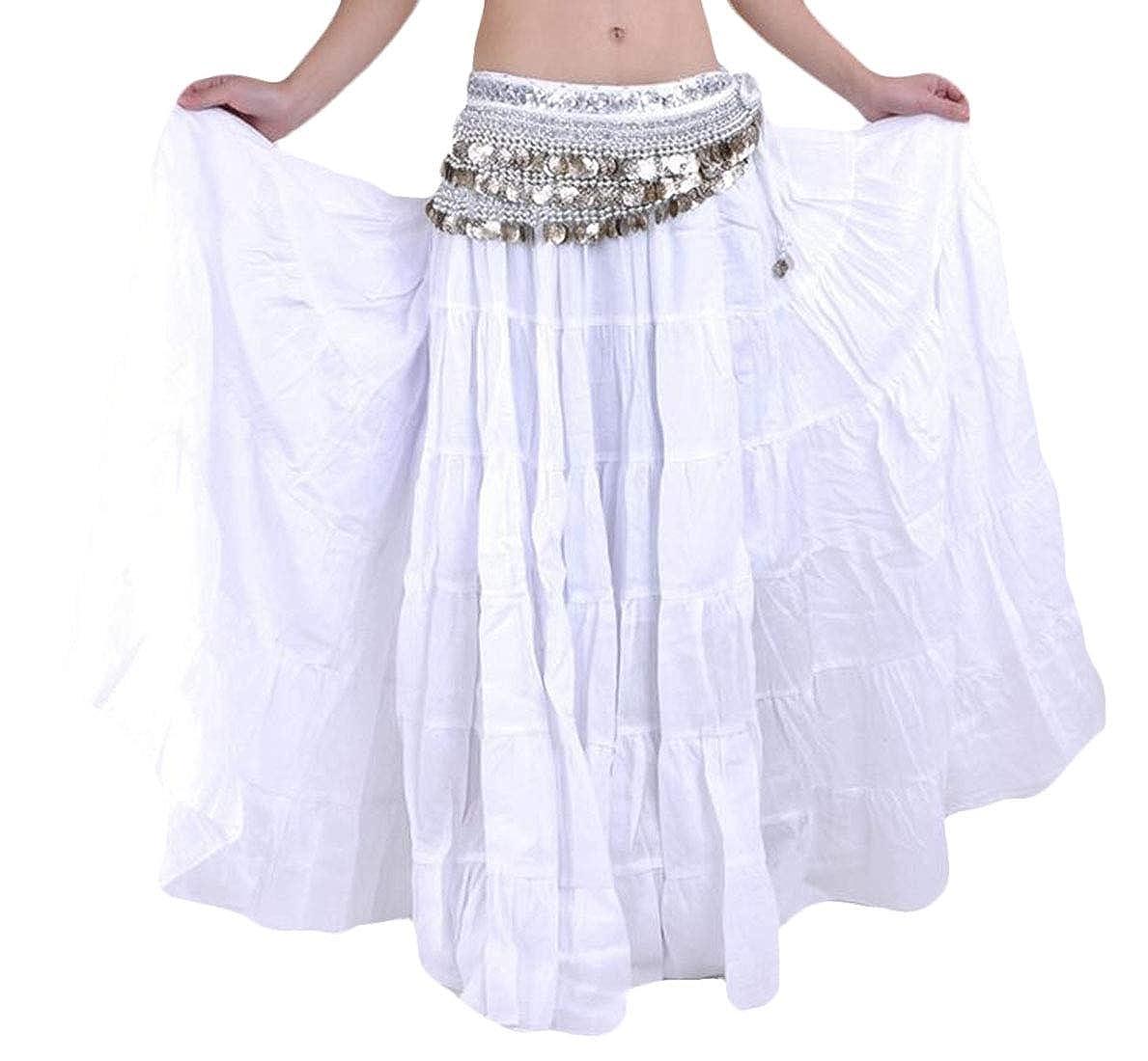 CRYYU Women Gypsy Belly Dance Tribal Pure Color Boho Maxi Skirt