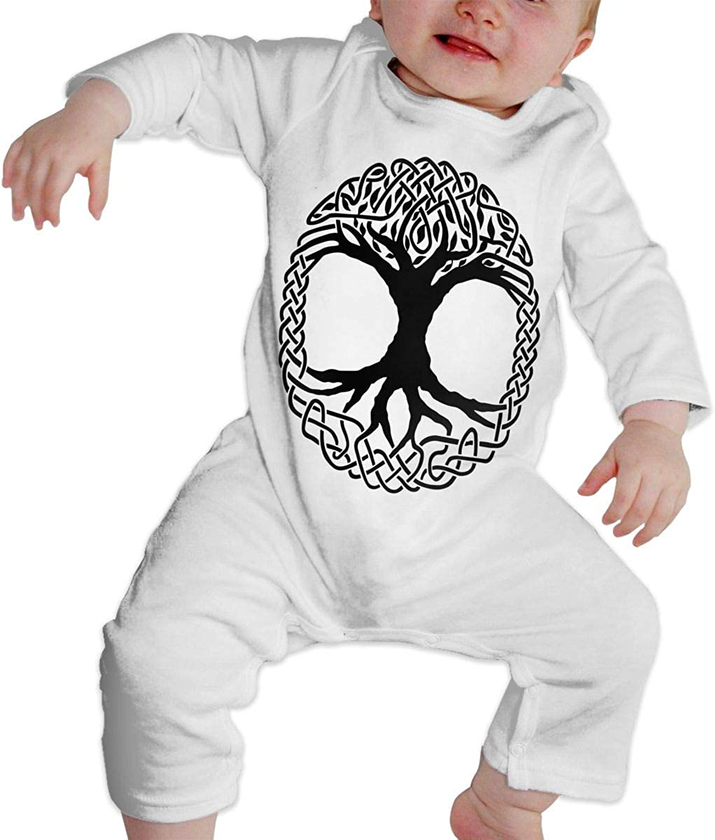 YELTY6F Celtic Tree of Life Printed Boys Girls One-Piece Suit Long Sleeve Rompers White