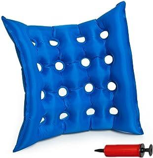 Szetosy Matelas médical gonflable en PVC Coussin mobilité gonflable Anti-escarres Tapis de siège pour une utilisation assise prolongée Pour chaise roulante Avec pompe gratuite 40x 40cm Bleu