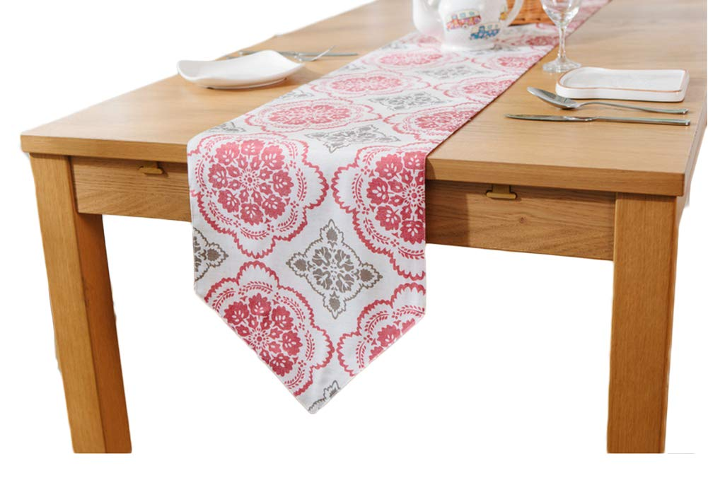 Linen Cotton Ethnic Table Runner/Flag - Red Window Grille Bed Runner Dining Table Decor 12 x 87 Inch