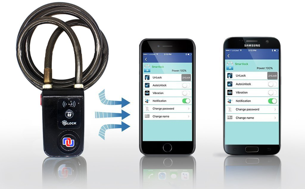 Nulock Keyless Bluetooth Bike/Motorcycle/Gate Lock IP44 Splash-Proof Cycling Lock with 110db Alarm, 0.38'' Diameter 31-inch Braided Steel Cable